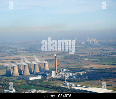 Eggborough & Drax Power Stations, Yorkshire, Northern England, from the air, Sulpherous pollution visible behind - Stock Photo