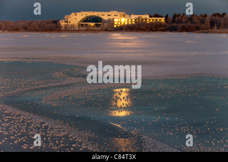 Evening sun reflefting from windows  of hotel spa Eden  Oulu Nallikari Finland - Stock Photo