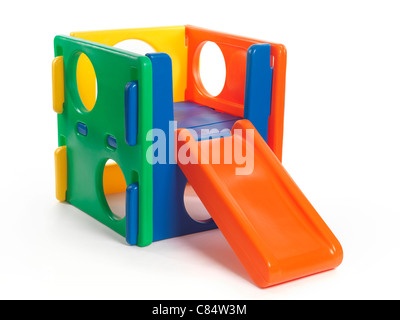 Kid climber toy with a slide isolated on white background - Stock Photo