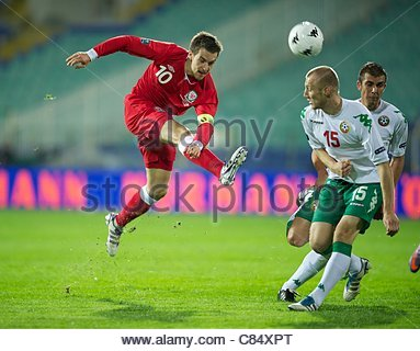SOFIA, BULGARIA - Tuesday, October 11, 2011: Wales' captain Aaron Ramsey in action against Bulgaria during the UEFA - Stock Photo