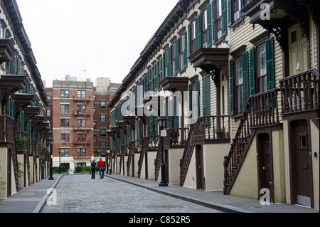 Row houses on Sylvan Terrace dating to 1882 are part of the Jumel Terrace Historic District in New York - Stock Photo