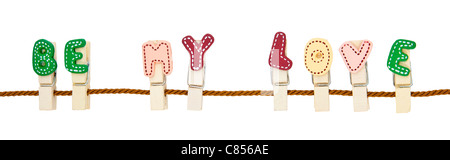 English alphabet wooden clip on the rope - Stock Photo