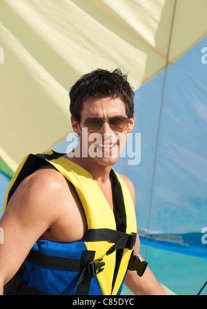 Man on Sailboat, Reef Playacar Resort and Spa, Playa del Carmen, Mexico