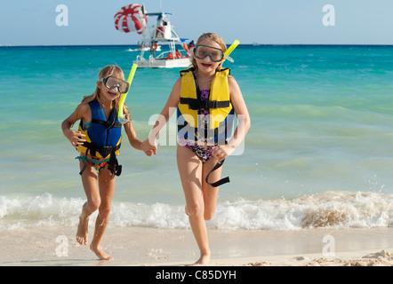Girls in Snorkeling Gear on Beach, Reef Playacar Resort and Spa, Playa del Carmen, Mexico - Stock Photo