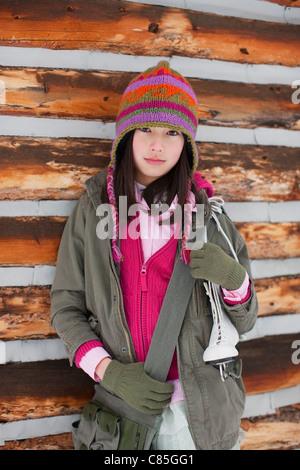 Girl at Cabin, Frisco, Summit County, Colorado, USA - Stock Photo