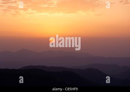 Sunset in Himalayas. Shimla, Himachal Pradesh, India - Stock Photo