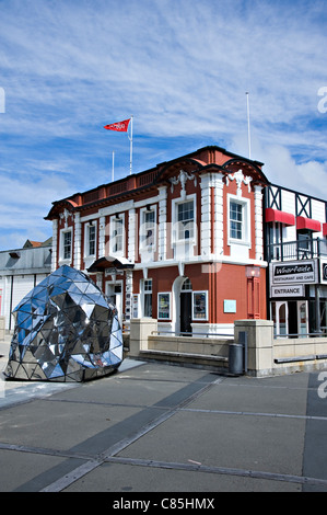 The Wharfside Restaurant and Cafe by Chaffers Marina on The Waterfront Wellington North Island New Zealand - Stock Photo