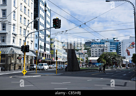 Dixon and the Corner of Taranaki Streets in the Busy Shopping Area of Wellington near the Waterfront New Zealand - Stock Photo