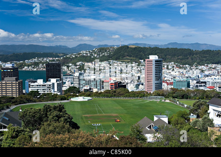 Panoramic View of Wellington City From Botanic Gardens North Island New Zealand NZ - Stock Photo