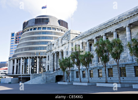 The Beehive and Parliament Buildings in Wellington City North Island New Zealand - Stock Photo