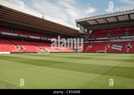 General view of Anfield, with the Anfield Road (left) & Centenuary stands in the home ground of Liverpool Football club.