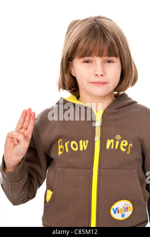 Young Girl in Her Brownie Uniform - Stock Photo