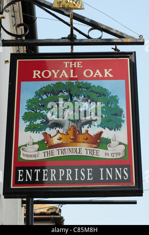 Sign for The Royal Oak or The Trundle Tree Public House, East Wittering. - Stock Photo