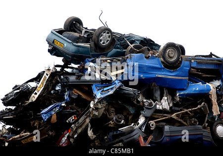 A pile of cars and vehicles waiting to be crushed at Jordans in Newhaven - Stock Photo