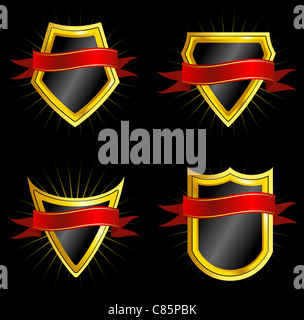 Set of Golden Shields With Dark Red Ribbons - Stock Photo