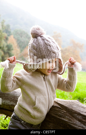 Little girl wearing a stocking cap - Stock Photo