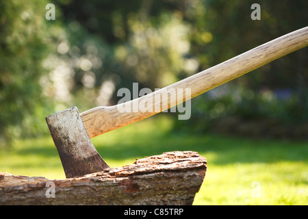 Axe for chopping wood embedded in a tree stump - Stock Photo