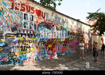 Prague, Czech Republic - John Lennon wall - Stock Photo