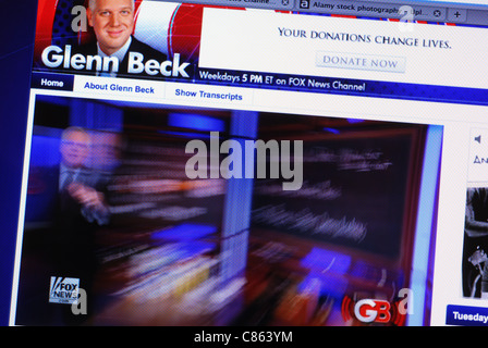 Live streaming video of Glenn Beck's Foxnews show on his website - Stock Photo