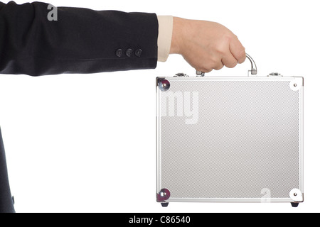 silver case in man hand - isolated on white - Stock Photo