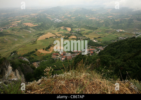 Republic of San Marino. View from Monte Titano, the highest peak in San Marino. - Stock Photo