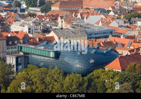 Aerial View of Modern Building of Grazer Kunsthaus (Graz Art Museum) from Schlossberg Hill, Styria, Austria - Stock Photo