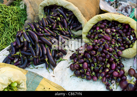 Old Delhi, Daryagang fruit and vegetable market, aubergines, eggplants and green beans on sale, India - Stock Photo