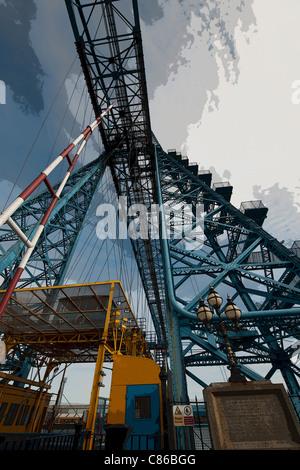 Unusual view of Transporter Bridge, Middlesbrough, Teeside, England, UK - Stock Photo