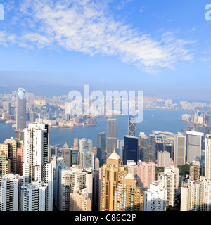 Skyline view from the Peak on Hong Kong Island - Stock Photo