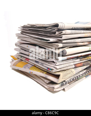 Newspapers on a stack - Stock Photo