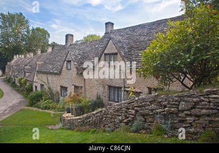 Cottages, Arlington Row, Bibury, Gloucestershire, England - Stock Photo
