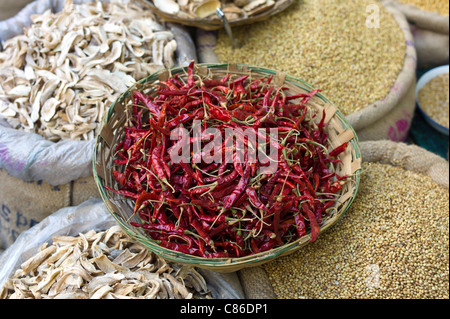 Red chillies, cardamom, coriander and dried mango skins on sale at Khari Baoli spice and dried foods market, Old - Stock Photo