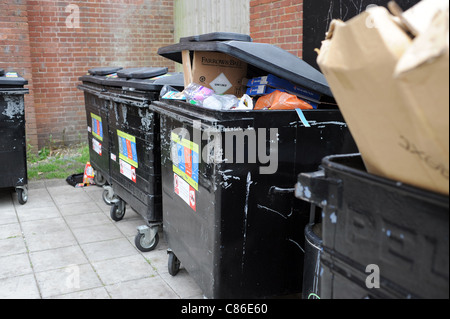 Overflowing council public recycling bins in Brighton east Sussex UK - Stock Photo