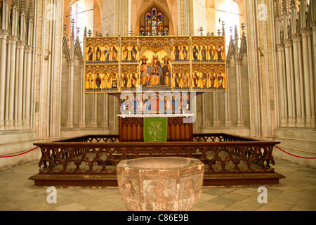 famous Altar of the Coronation Virgin Mary inside the Marienkirche or St. Mary's church, Hanseatic City of Stralsund, - Stock Photo