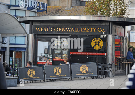 West Cornwall Pasty Co cafe stall in Brighton city centre UK - Stock Photo