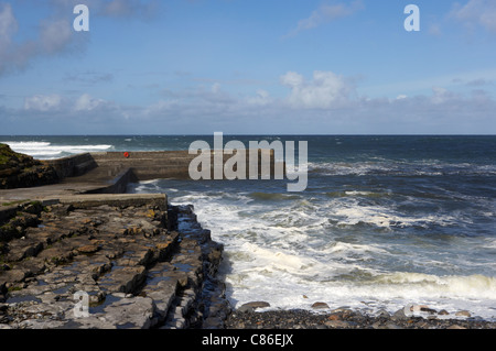 easkey pier and rough seas on the north sligo coastline republic of ireland - Stock Photo