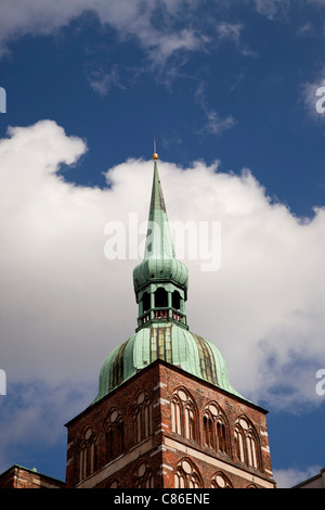 church tower of St. Nicolas church, Hanseatic City of Stralsund, Mecklenburg-Vorpommern, Germany - Stock Photo