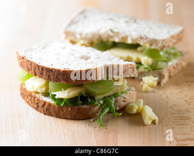 Cheese and Grape on seeded wholemeal bread - Stock Photo