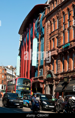 Traffic on Shaftesbury Avenue and Trocadero building, London, United Kingdom - Stock Photo