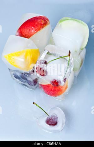 Frozen Fruit on White Background - Stock Photo