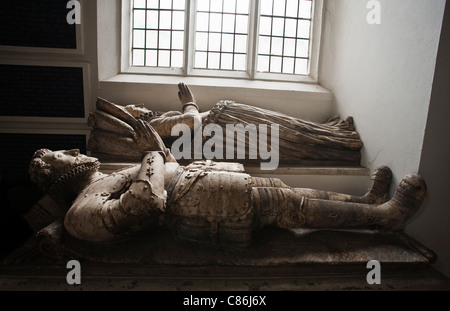 The memorial to Sir Henry Sidney and his wife in St Marys church at Little Walsingham, Norfolk, England, UK. - Stock Photo