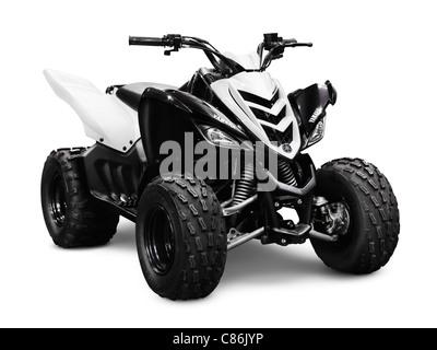 2012 Yamaha Raptor 90 ATV isolated on white background - Stock Photo