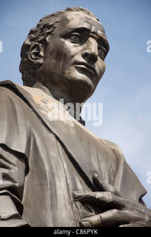 Statue of Christopher Columbus in front of the City Hall in Columbus, Ohio - Stock Photo