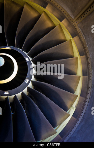 Closeup of the air inlet of an IAE V2500 turbofan engine. - Stock Photo