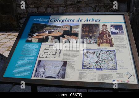 Information sign ' Colegiata de Arbas ' ( 13 th ) PUERTO DE PAJARES . Principado de Asturias . SPAIN . - Stock Photo