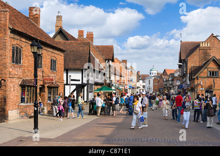 Shops on Henley Street in the historic centre, Stratford-upon-Avon, Warwickshire, England, UK - Stock Photo