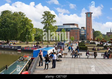 View across the Canal Basin and Bancroft Park to the Royal Shakespeare Theatre, Stratford-upon-Avon, Warwickshire, - Stock Photo