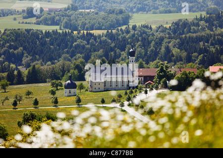 Germany, Bavaria, Upper Bavaria, Irschenberg, Wilparting, View of St. Marinus und Anian pilgrimage church - Stock Photo