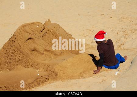 Sand sculpture on the beach at Amanzimtoti, KwaZulu-Natal, South Africa. - Stock Photo