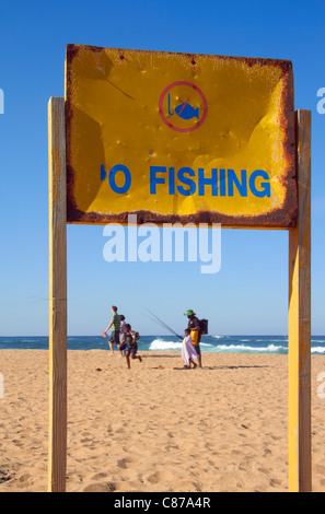 'No Fishing' sign on the beach at Amanzimtoti, KwaZulu-Natal, South Africa. - Stock Photo